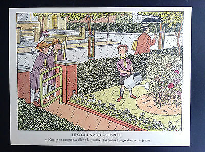 RARE ancienne illustration du calendrier scout Hergé de 1947 no Tintin