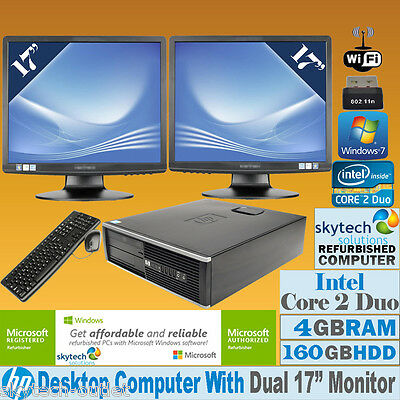 "FAST HP CORE 2 DUO MULTI SCREEN SET PC 2x 17"" TFT CHEAP DESKTOP WINDOWS 7 Wi-Fi"