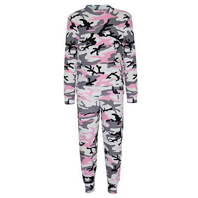 Girls Childrens Pink Camouflage Print Tracksuit Loungeset 7 8 9 10 11 12 13 Year