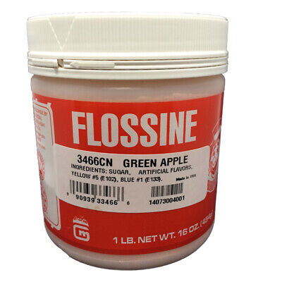Gold Medal Cotton Candy Flossine 1 Pound Jar, Green Apple