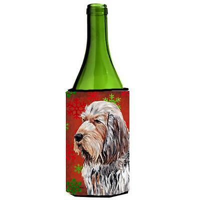 Otterhound Red Snowflakes Holiday Wine bottle sleeve Hugger 24 Oz.