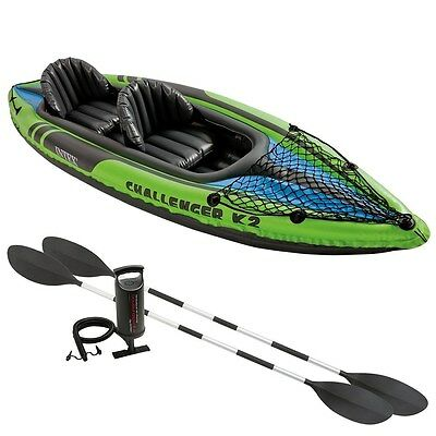 2 Seat Kayak Fishing Boat Inflatable Travel Canoe Lake Accessories Float Paddles