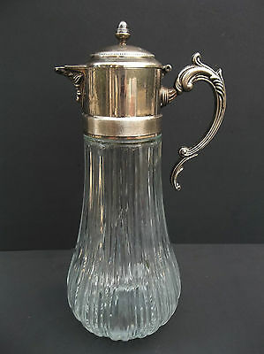 Wine Glass Pitcher Decanter Claret Jug Silver Plate Lid Antique European