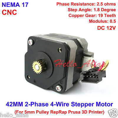 NEMA 17 Stepper Motor CNC shaft for 5mm pulley RepRap Prusa Rostock 3D printer