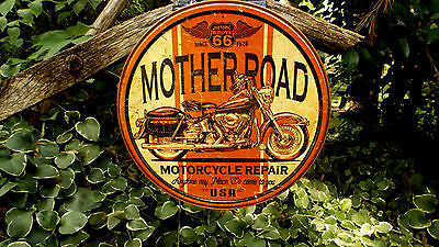 Harley Triumph Indian Motorcycle Repair Round Tin Advertising Sign Man Cave Wall