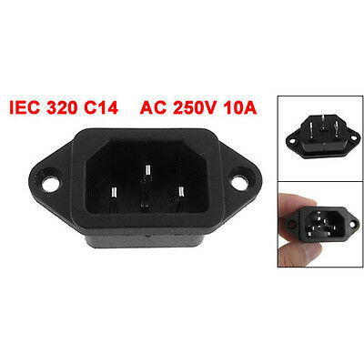 IEC 320 C14 Male Plug 3 Pins PCB Panel Power Inlet Socket Connector HP