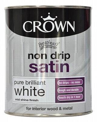 Crown Non Drip Satin Paint Pure Brilliant White Interior Wood and Metal - 750ml