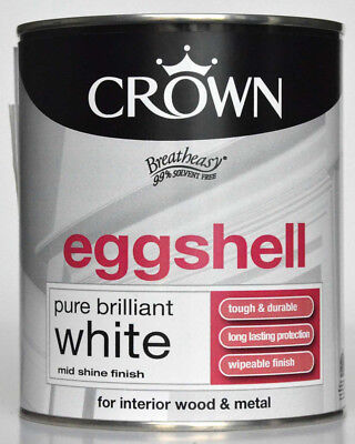 Crown Eggshell Pure Brilliant White Mid Shine Finish For Interior Wood And Metal