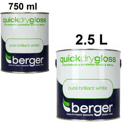 Berger Quick Dry Satin For Interior Wood & Metal Pure Brilliant White ALL SIZES