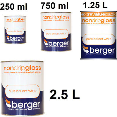 Berger Non Drip Gloss for Interior Exterior Wood and Metal Pure Brilliant White