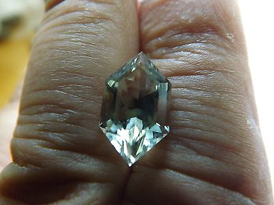 Faceted Prasolite - Green Quartz Freeform Cut 4.26cts 8x15mm AAA+ Nice Color