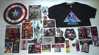 Sdcc 2016 Marvel Promo Lot Captain America Shield Shirt Postcards Button Sticker