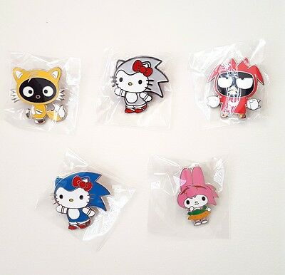 SDCC 2016 Exclusive Sonic The Hedgehog Sanrio 5 Pins Set LE 300 Hello Kitty