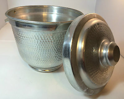 Hammered Aluminum Ice Bucket Made in Italy Mid-Century Collectible Double Lined