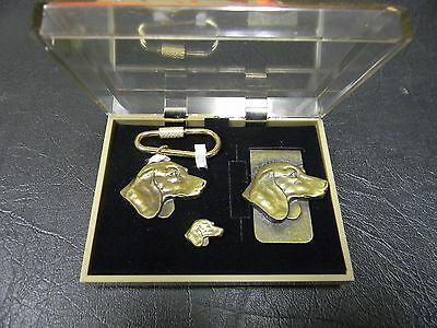 Beagle Brass Key Ring, Money Clip and Tie Tac Set