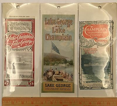 Antique Steam Ship Label Time Table Cover Lot Lake Champlain George Steamboat 3