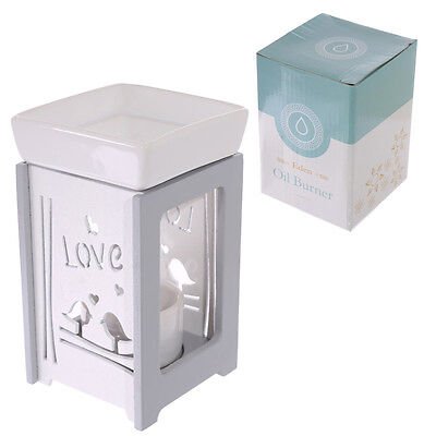 Romance Love Bird Design Ceramic & Wood Home Fragrance Essential Oil Burner Gift