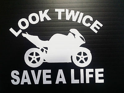 Look Twice Save A Life Motorcycle Vinyl Decals Stickers Helmets Window Bumper