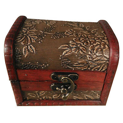 Antique Style Embossed Flower Jewelry Gift Necklace Wood Case Box Bronze Tone DT