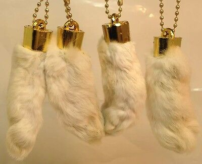 NATURAL WHITE 4 x Real Rabbit Foot Lucky Keychain Vraie Patte de Lapin Chanceuse