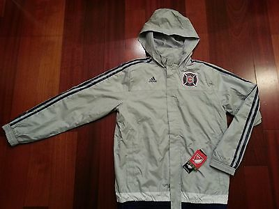 NEW Youth ADIDAS Chicago Fire Soccer Football Hooded Rain Jacket Silver