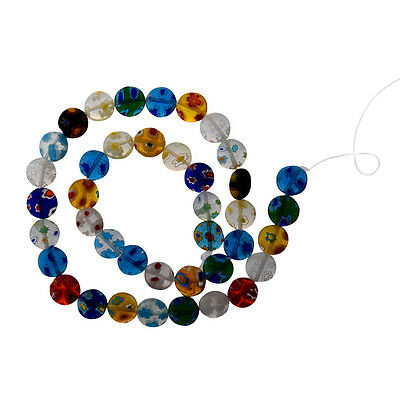 40-Piece Colorful Mix Millefiori Flower Glass Coin Bes,10mm DT