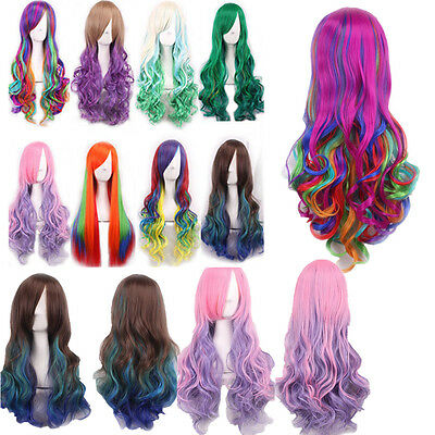 Rainbow Cosplay Wigs Long Natural Straight Curly Wavy Hair Wig Fancy Dress HT SM