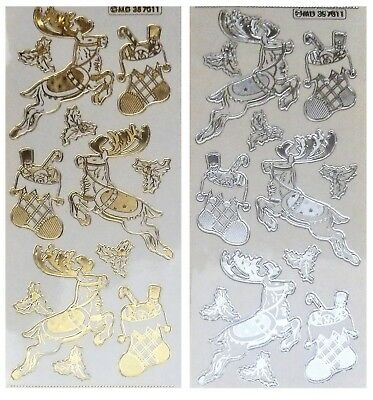 CHRISTMAS REINDEER & STOCKINGS Embossed Peel Off Stickers Gold or Silver Clear