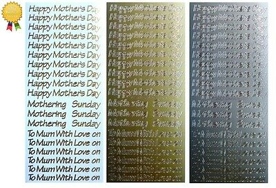 HAPPY MOTHERS DAY Peel Off Stickers Card Making Sentiments To Mum Gold or Silver