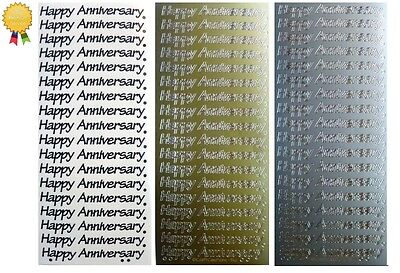 HAPPY ANNIVERSARY Peel Off Stickers Card Making Sentiments Gold Silver or Black