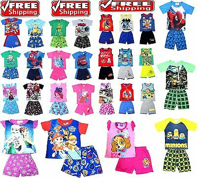 NEW Sz 2-8 KIDS SUMMER PYJAMAS BOYS OUTFITS TEE PJ PJS SLEEPWEAR NIGHTIE TSHIRTS