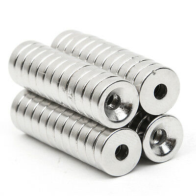 50pcs N35 Strong Countersunk Ring Magnets 10 x 3mm Hole 3mm Rare Earth Neodymium