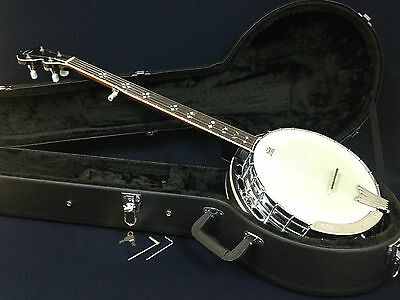 Caraya 5-String Banjo, Rosewood Resonator,w/Tone Ring+Lockable Hard Case TWB C5