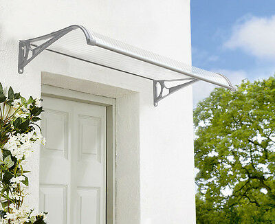 Noosa Outdoor Window Awning1.2m x 1m with Gutter Clear Cover- Grey Brackets