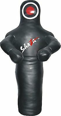 MMA Judo Wrestling Punching Bag Dummy Black with Arms Synthetic Leather