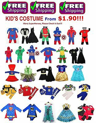 NEW Size 1-12 KIDS CHILDREN SUPERHERO PARTY COSTUMES BIRTHDAY BOYS GIRLS TODDLER