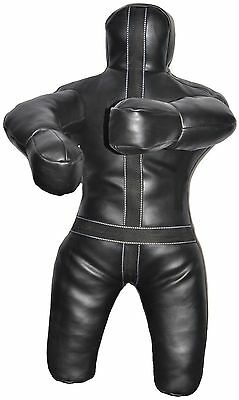 Martial Arts Training Punching Bag Grappling Dummy Black Synthetic Leather