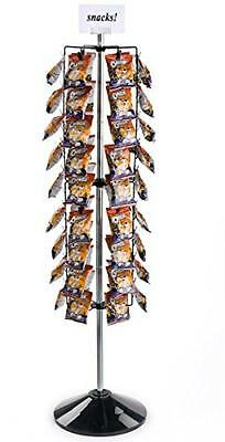 Displays2go Potato Chip Rack with Clip Strips, 108 Clips, Rotating (CCFR108BK),