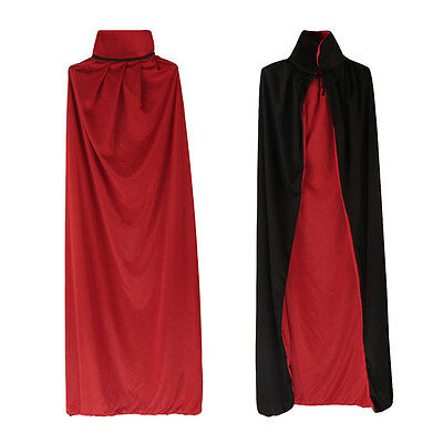 Long Cape Dracula Devil Cloak Medieval Vampire Fancy Dress For Halloween Costume