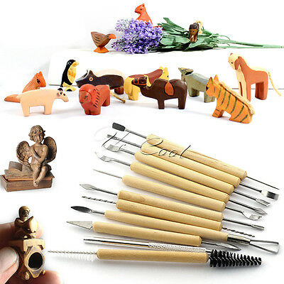 11Pcs Polymer Clay Sculpting Tool Set Wood Model Art Project Pottery Tool Kit UK