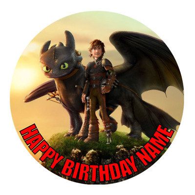 How to Train Your Dragon Personalised Edible Party Cake Decoration Topper Image