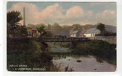 JUBILEE BRIDGE & LEVERN BURN, BARRHEAD: Renfrewshire postcard (C20135)