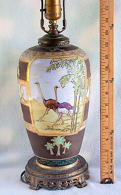 Vintage Hand-Painted NIPPON Lamp w. Ostrich / Egyptian Revival / Middle Eastern