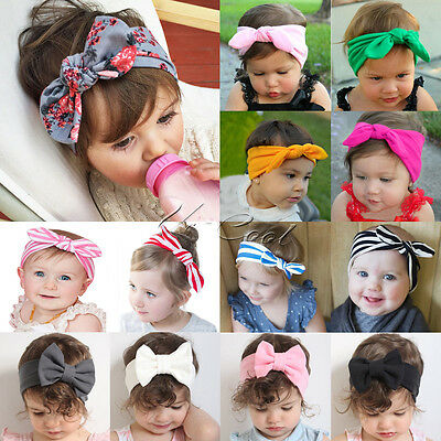 UK Newborn Headband Ribbon Elastic Baby Headdress Kids Hair Band Girl Bow Knot