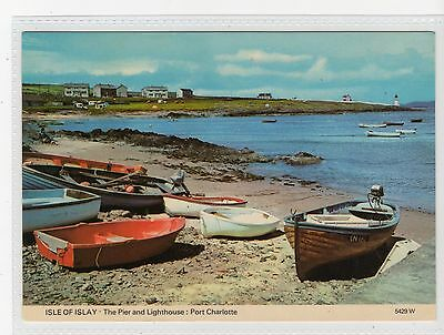 THE PIER AND LIGHTHOUSE, PORT CHARLOTTE: Isle of Islay postcard (C19745)