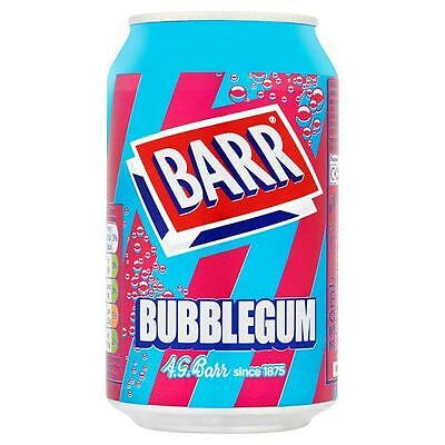 24 X 330 ml Barr Bubblegum Flavour Sparkling Soft Drink with Sugar & Sweeteners