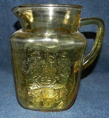 Federal Madrid Amber Depression Glass 60 oz Ice Lipped Water Pitcher/ Jug
