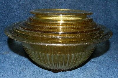 Hazel Atlas Amber/Gold Depression Glass Nesting Bowls - SET OF 6!
