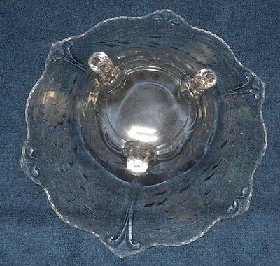 Vintage Hughes Cornflower Indiana Glass Line 607 3 footed Center Bowl 11""