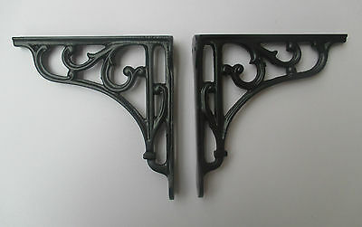 "6"" PAIR OF BLACK cast iron Victorian scroll ornate shelf support wall brackets"
